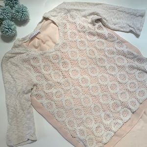 ⭐️Anthro Potter's Pot lace knit front top⭐️